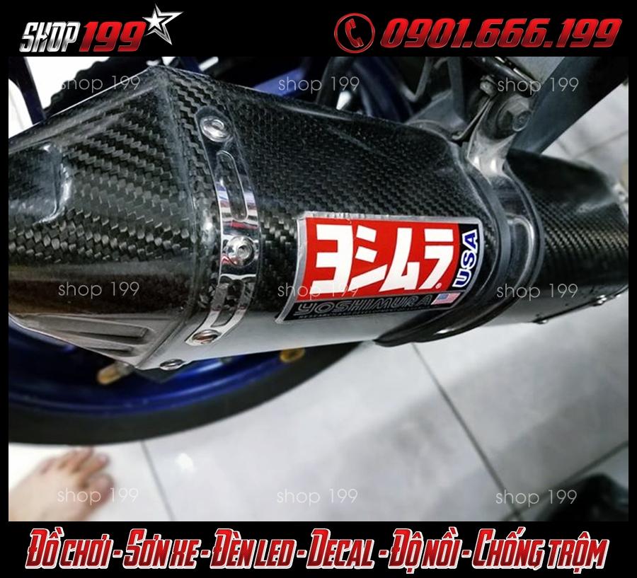 Hình ảnh Pô Yoshimura màu carbon độ đẹp và chất cho xe Honda Vario 150